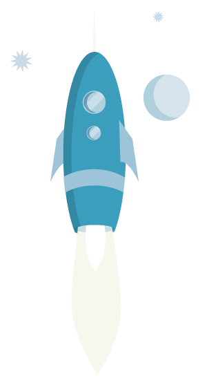 Rocket ship blue